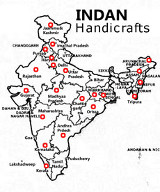 Indian Handicrafts, location map for Indian art and crafts products, manufacturers, artisans, Indian states known for handicrafts