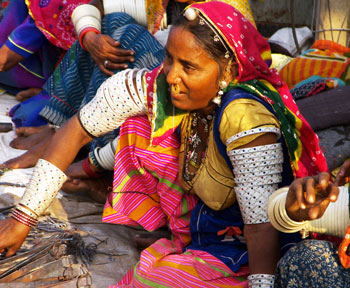 women selling handicrafts at haat or market